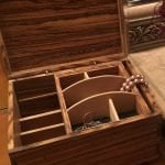 Zebrawood and European beech jewelry box with sliding top tray. Finished with Tung oil.