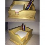Small pens and notepad crate As a Christmas present, I made this little box for storing notepads and pens. Actually, I do not have to write much, everything was made by hand and connected with dovetails. There really were no electrical machines involved. The rounded edges on the bottom I made, for example with a Stanley # 4.