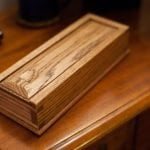 second sliding lid dovetail box, made from oak with shellac and dark wax finish.