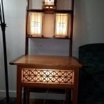 Shoji lamps. This is a collection of Shoji lamps that I have been making. It includes 3 lamps and a table with shoji panels. The woods are cherry walnut and curly maple.