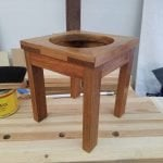 Teak, mortise and tennon aprons and mitered half lap joinery