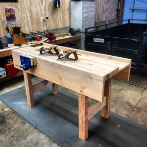 Here's my version of Paul's latest design. I stayed true to the design, used as much salvage fir as I could for the top from an old storage shed. The bench turned out great and I had a fun time following along the videos.