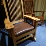 This is my second rocking chair, made for the parents in law. The wood alder and I got it from an ancient water powered saw mill in south east Germany. The seat I built based on a 25 steel springs prefabricated core, padded with canvas, polymeric fibre, fleece and a covering of natural leather. This time the rocker are steamed and bend instead of laminated. Great fun, again and a browny with the inlaws ;_)