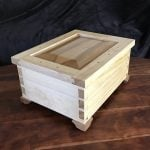 Box made with Pine cut offs glued together, top Ash frame with Elm insert Shellac finish