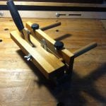 Wooden plough plane, made from reclaimed beech from an old table