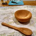 hand carved bowl in lime and spoon in oak