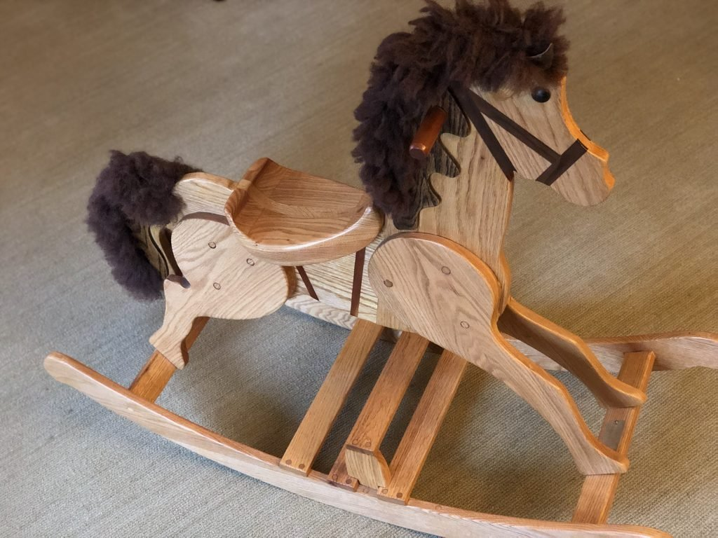 Oak Hobby Horse with walnut inlay bridle and macrame mayne and tail