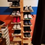 A spin on a self standing spine shelf for my brothers shoe collection. Everything is pine except the western red cedar post, put on two coats of wipe-on poly for a quick finish. Used only hand tools, except to cut all shelves to length which I used a radial arm saw for. Fun project and could be used for many other things other than shoes!