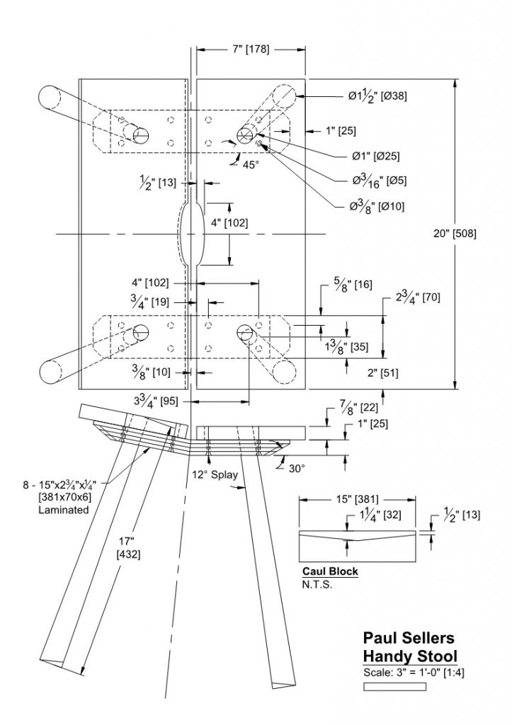 Handy Stool Dimensioned Drawing by Eric Brown