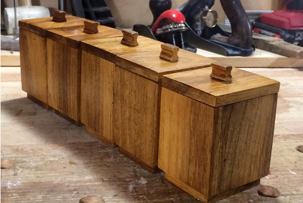 Walnut Wood Spice Boxes by Volodymyr Tobolskyy