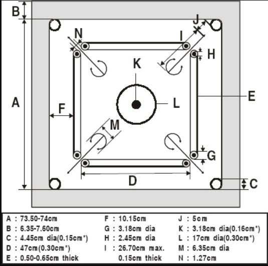 carrom board dimensions